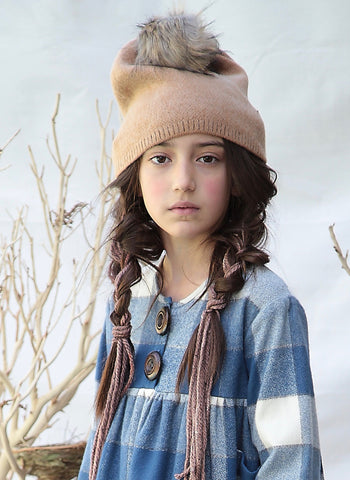 Blue Pony Vintage Pom Hat in Fawn - FINAL SALE