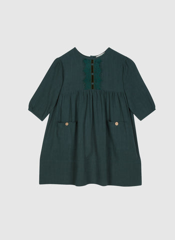 Blue Pony Vintage Zuzu Dress in Winter Green