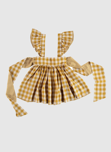 Carbon Soldiers Archduke Apron in Mustard/Ivory - FINAL SALE
