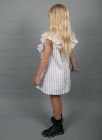 Carbon Soldiers Eagle Dress in Grey/White Stripes - FINAL SALE