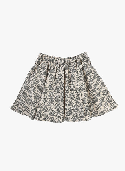 Carrement Beau Girls Cotton Satin Skirt w/ allover leaf print - FINAL SALE