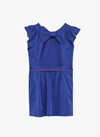 Carrement Beau Girls Dress with Bow on the Back in Navy Blue - FINAL SALE