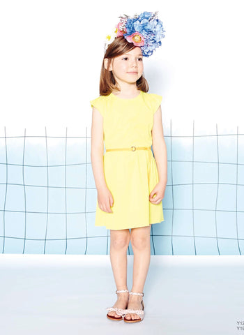 Carrement Beau Girls Dress with Bow on the Back in Yellow - FINAL SALE