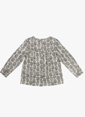 Carrement Beau Girls Long Sleeve Cotton Twill Leaf Print Blouse - FINAL SALE