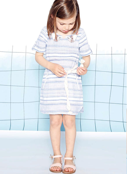 Carrement Beau Girls Short Sleeve Stripe Dress - FINAL SALE