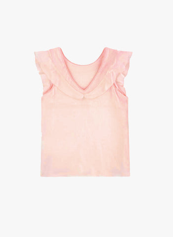 Carrement Beau Girls Short Sleeve T-Shirt w/ Embroidery in Pale Pink - FINAL SALE