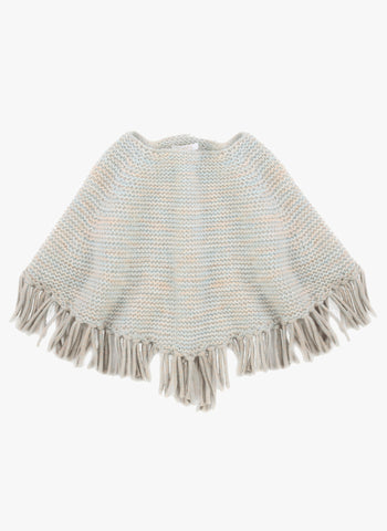 Chloe Girls Chunky Knit Poncho with Fringes - FINAL SALE