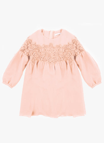 Chloe Girls Couture Crepe Dress with Guipure Embroidery Details in Pink - FINAL SALE