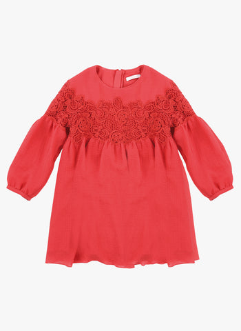 Chloe Girls Couture Crepe Dress with Guipure Embroidery Details in Red - FINAL SALE
