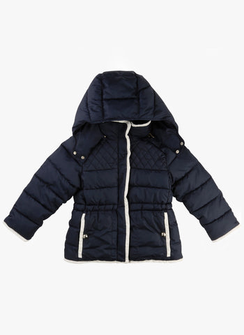 Chloe Girls Padded Hooded Coat with Lining Details in Marine - FINAL SALE