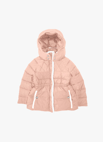 Chloe Girls Padded Hooded Coat with Lining Details in Rose - FINAL SALE