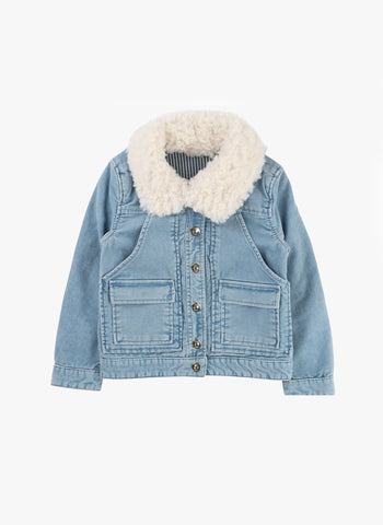 Chloe Girls Stonewashed Velvet Jacket with Faux Fur Collar - FINAL SALE
