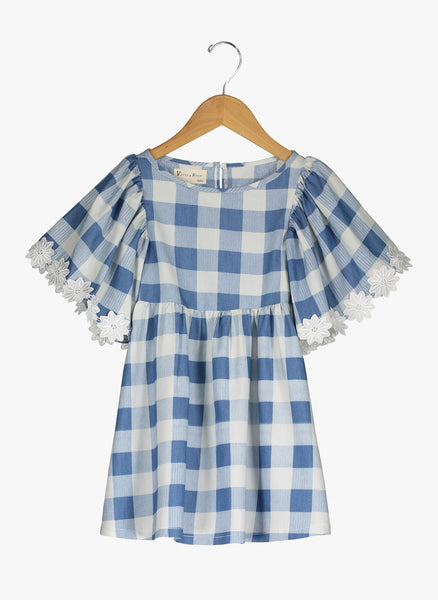 Vierra Rose London Big Sleeve Dress in Blue Check - FINAL SALE