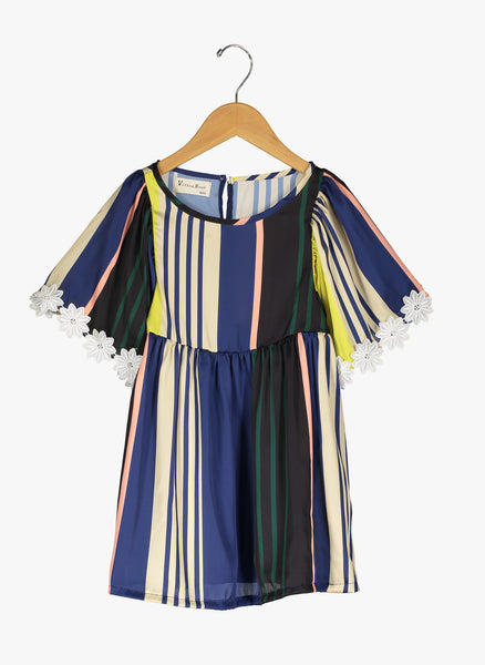 Vierra Rose London Big Sleeve Dress in Multi Stripes - FINAL SALE