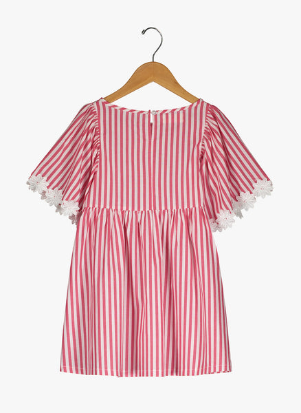 Vierra Rose London Big Sleeve Dress in Red and White Stripes - FINAL SALE