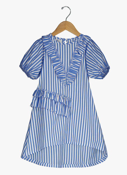 Vierra Rose Abella Ruffle Neckline Dress in Blue and White Stripes - FINAL SALE