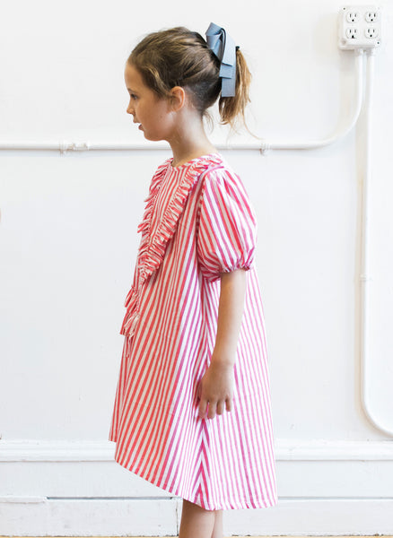 Vierra Rose Abella Ruffle Neckline Dress in Red and White Stripes - FINAL SALE