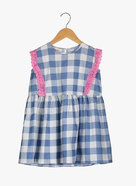 Vierra Rose Lilou Trimmed Sleeveless Dress in Blue Check - FINAL SALE
