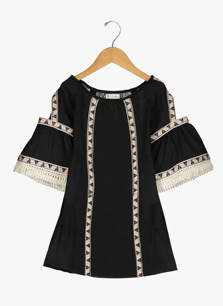 Vierra Rose Lillian Cold Shoulder Trimmed Dress in Black - FINAL SALE