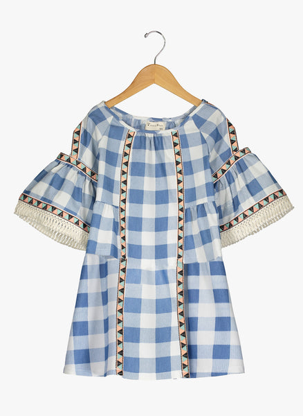 Vierra Rose Lillian Cold Shoulder Trimmed Dress in Blue Check - FINAL SALE