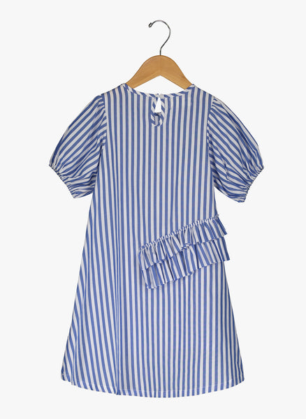 Vierra Rose Freya Pretty Neckline Dress Blue and White Stripes - FINAL SALE