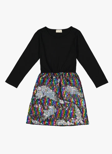 Vierra Rose Dayle Sequin Skirt Dress in Rainbow/Silver Reversible Sequins - PRE-ORDER