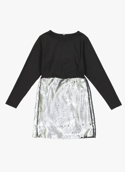 Vierra Rose Dayle Sequin Skirt Dress in Silver/Black Reversible Sequin - FINAL SALE