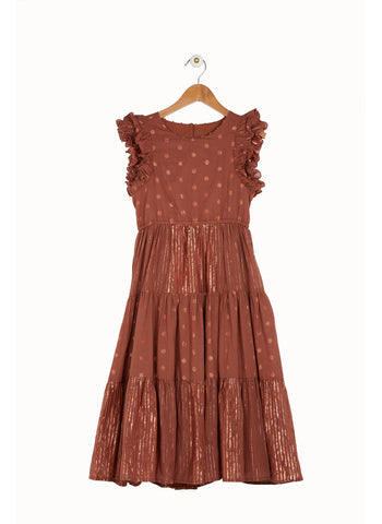 Derhy Kids Cassie Dress in Caramel/Rust Taupe - FINAL SALE