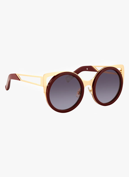 Linda Farrow X Erdem Cat Eye Maroon Sunglasses