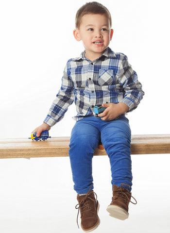 Egg Boys Reversible Plaid/Check Shirt - W4CO1017T - Navy -  FINAL SALE