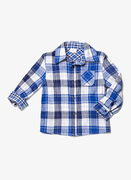 Egg Boys Reversible Plaid/Check Shirt - Blue -W4CO1017T- FINAL SALE