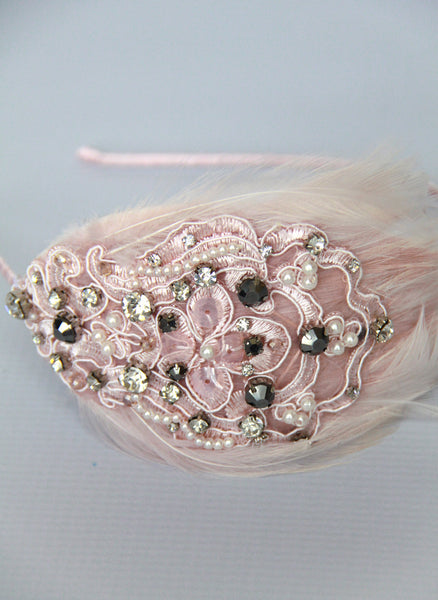 Giovannio Jewel Feather Headband in Vintage Pink- SC4026