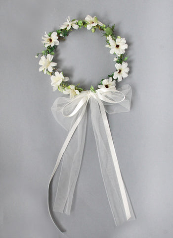 Girls Daisy Flower Head Wreath