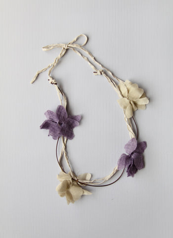 Girls Flower Necklace in Violet