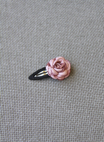 Girls Rose Petal Hair Clip in Dusty Pink