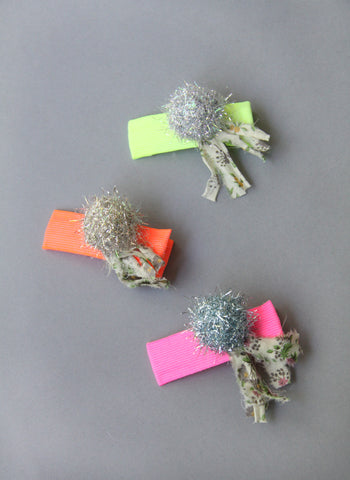 Girls Neon Pompom Hairclip - FINAL SALE