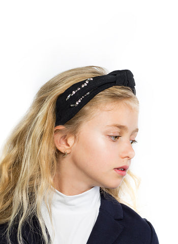 Halo Luxe Clara Rhinestone Knot Headband in Black