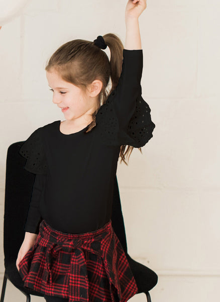Vierra Rose Hazel Eyelet Ruffle Knit Top in Black - FINAL SALE