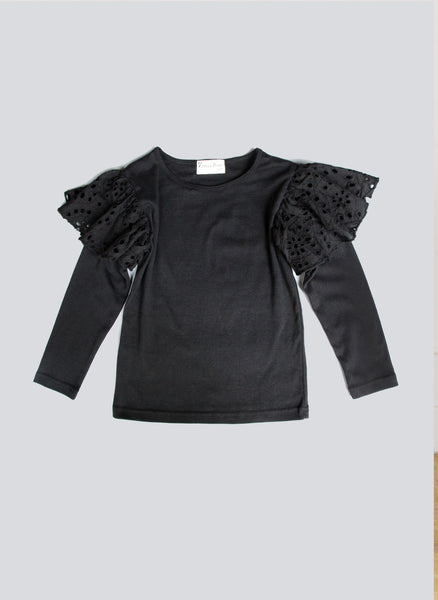 Vierra Rose Hazel Eyelet Ruffle Knit Top in Black