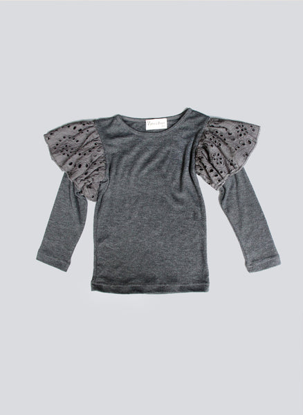 Vierra Rose Hazel Eyelet Ruffle Knit Top in Grey