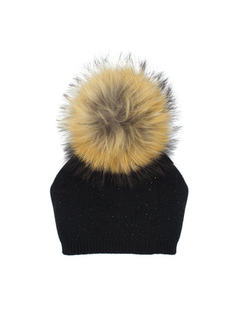 Hello Alyss Knit Contrast Trim Raccoon Fur Hat in Black