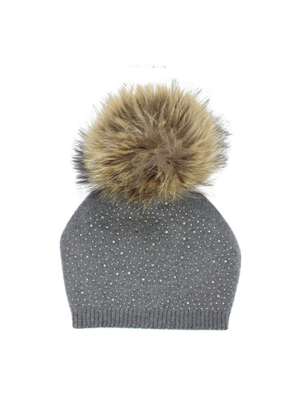 Hello Alyss Knit Contrast Trim Raccoon Fur Hat in Grey