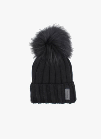 Hello Alyss Rib Wool Hat in Black w/  Raccoon Fur Pom