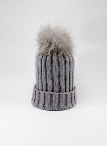 Hello Alyss Rib Wool Hat in Dusty Grey w/ Raccoon Fur Pom