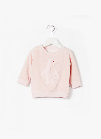 Imps and Elfs Baby Girl Penguin Velour L/S Pullover - Baby Pink - 3150670 - FINAL SALE