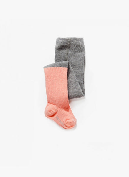 Imps and Elfs Baby Girl Two-Tone Tights in Grey/Pink - 3150112_BBB  - FINAL SALE