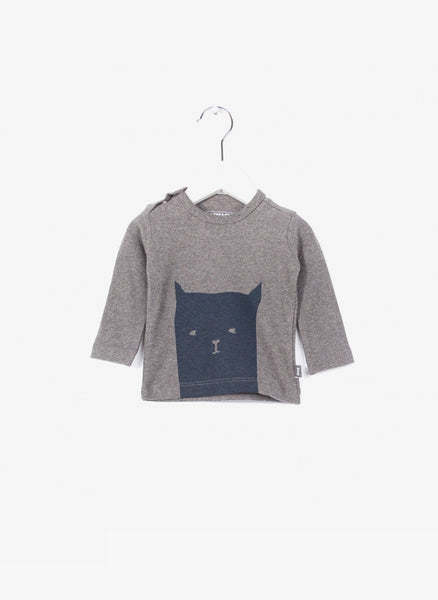 Imps and Elfs Baby Unisex L/S Tshirt 'Cat' Pullover - Grey Melange - 3150009 - FINAL SALE