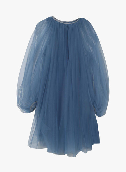 JNBY Girls Two Piece Long Sleeve Tulle Dress in Blue