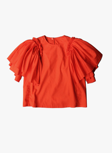 JNBY Girls Short Sleeve Shirt with Ruffles in Coral
