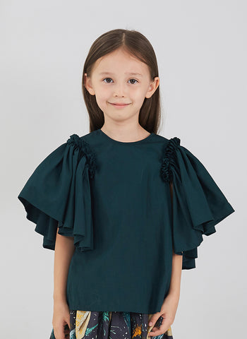JNBY Girls Short Sleeve Shirt with Ruffles in Coral - FINAL SALE